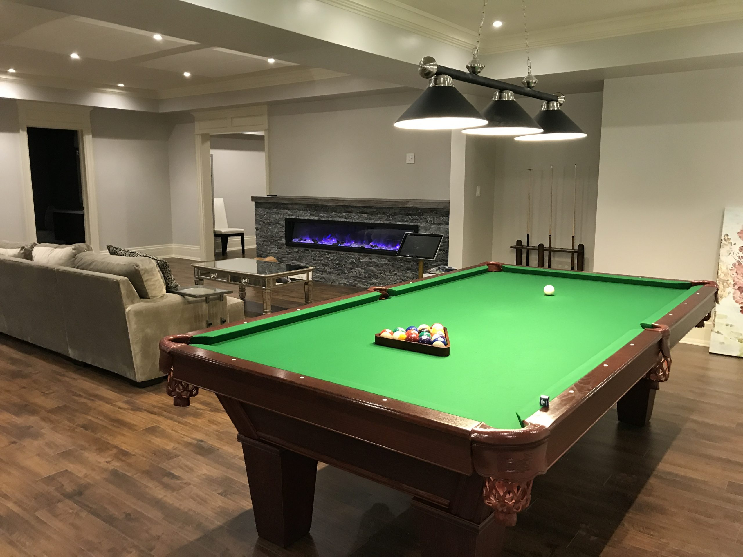 Basement renovation with entertainment area