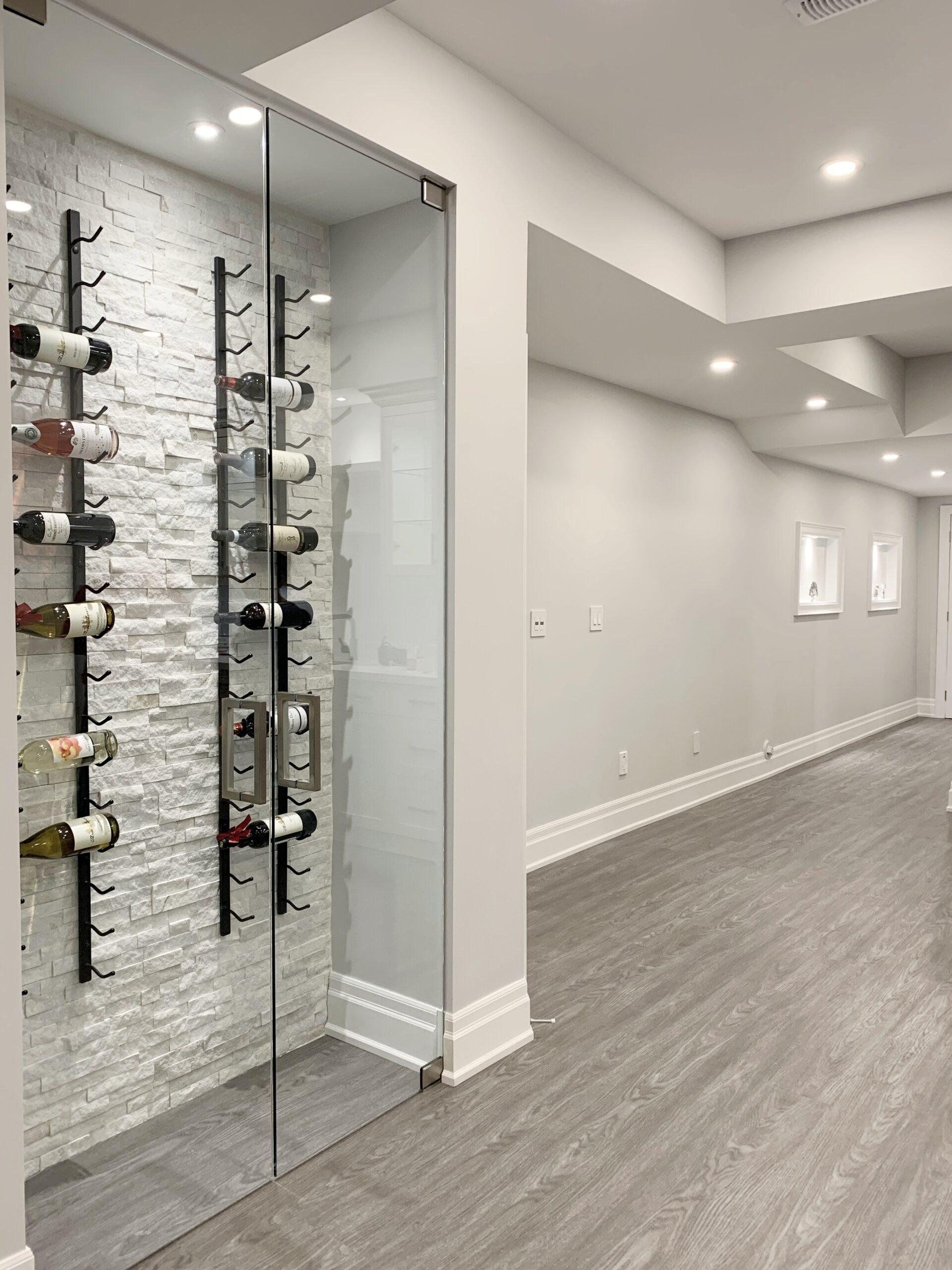 wine rack in basement